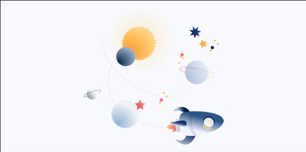 image fusée, planètes et étoiles