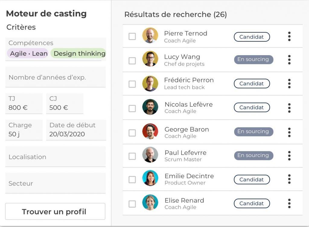 screenshot moteur de casting Whoz