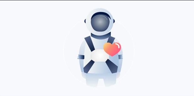image cosmonaute avec un coeur